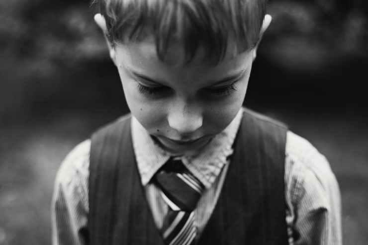 alone black and white blur boy